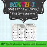 7th Grade Math Unit Review Find Someone Who Activity Bundle