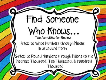 Find Someone Who Knows...Two Activities with Numbers throu