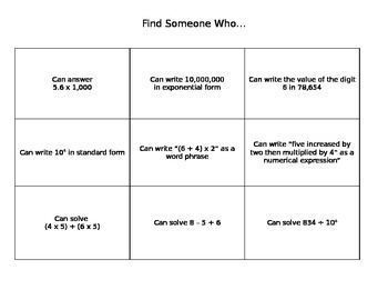 Find Someone Who - Math Ice Breaker