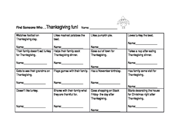 Find Someone Who - Thanksgiving! Kagan Class builder activity