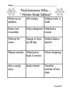 Find Someone Who- Winter Break Edition!