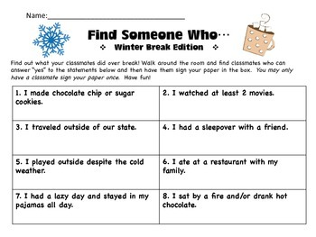 Find Someone Who…Winter Edition