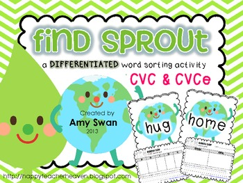 Find Sprout - Earth Day DIFFERENTIATED CVC & CVCe literacy