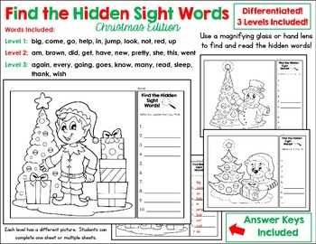 Find The Hidden Sight Words - Christmas Edition - Three Le