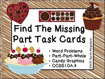 Algebra Math Task Cards (Part-Part-Whole)- First Grade