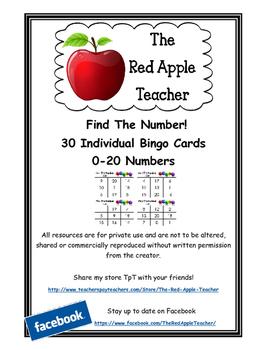 Find The Number Bingo 0-20 Numbers