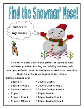 Find The Snowman's Nose Math Games -