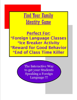 Find Your Family Identity Game - Foreign Language Game
