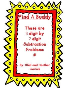 Find a Buddy 3 digit by 2 digit subtraction #1