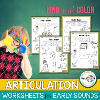 Find and Color; Initial & Final Sounds; Early developing sounds