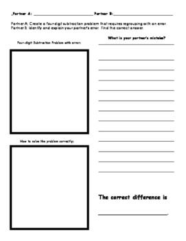 Find my Error 4-digit Subtraction Worksheet
