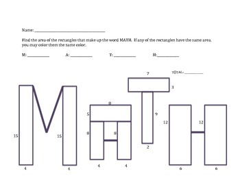 Find the Area of MATH Practice