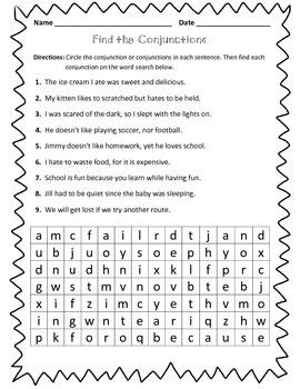 Conjunction Worksheet : Find the Conjunctions