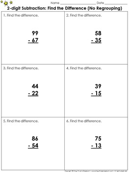 Find the Difference (No Regrouping): 2-digit Subtraction P