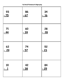Find the Difference with Regrouping (2-digit Numbers) Subt
