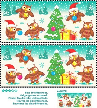 Find the Differences – Owls Trimming the Christmas Tree, C