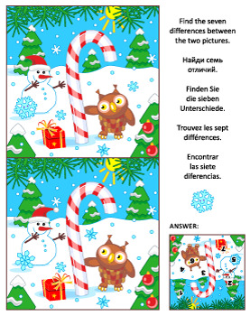 Find the Differences Picture Puzzle with Candy Cane, Comme