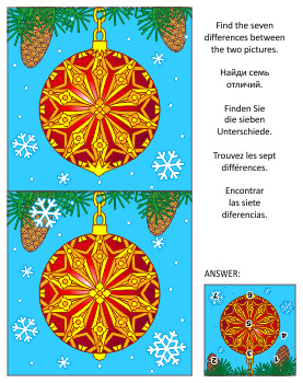 Find the Differences Picture Puzzle with Christmas Ornamen