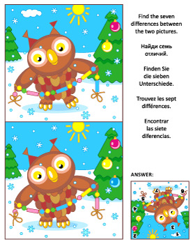 Find the Differences Picture Puzzle with Christmas Owl 2,