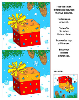 Find the Differences Picture Puzzle with Gift Box, Commerc
