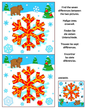 Find the Differences Picture Puzzle with Snowflake, Commer
