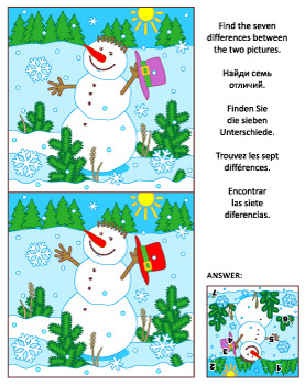 Find the Differences Picture Puzzle with Snowman, Commerci
