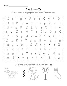 Find the Letter - Letter Zz