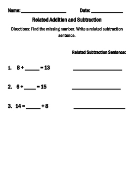 Find the Missing Number and Write the Related Subtraction