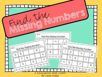 Find the Missing Numbers: A Kindergarten Math Printable