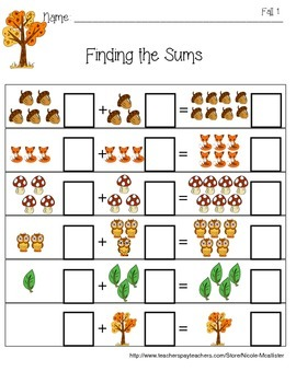 Find the Sum, Addition Worksheets, Picture Aids, Seasons Themed