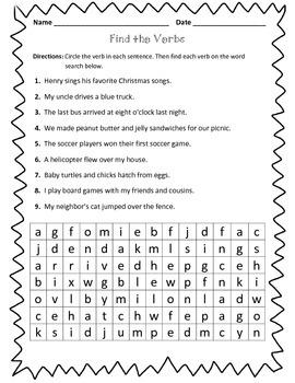 Verb Worksheet : Find the Verbs