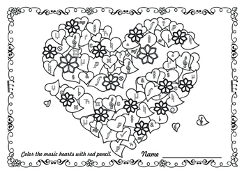 Find the hearts with music symbol (coloring activity)