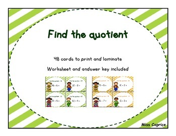 Find the quotient - 3rd and 4th grade