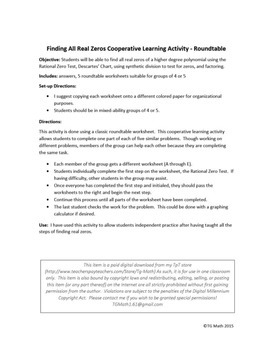 Finding All Real Zeros Cooperative Learning Activity