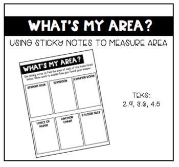 """Finding Area Around the Classroom- """"What's My Area?"""" Activity"""