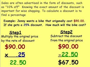 Using Percent - Finding Discounts Mathematics (worksheet i
