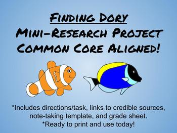 Finding Dory Mini-Research Project-Common Core Aligned for
