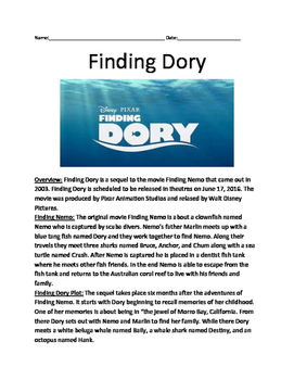 Finding Dory - informational article facts Nemo questions