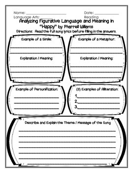 Finding Figurative Language and Meaning in a Song: Happy b