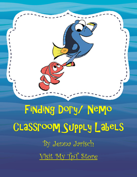 Finding Nemo/ Dory Classroom Supply Labels
