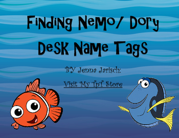 Finding Nemo/ Dory Desk Name Tags