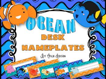 Finding Nemo/Dory Desk Nameplates {Bright Waves & Chevron}