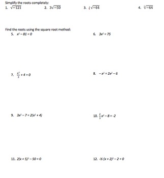 Finding Quadratic Roots Using the Square Root Method - Assignment