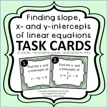 Finding Slope and x- and y-intercepts of Linear Equations
