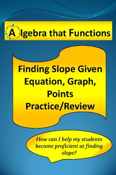 Slope Finding from a Graph, Points, and Equation Practice