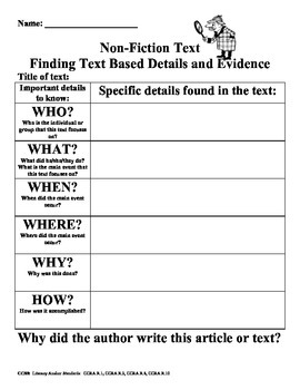 Finding Text Based Evidence Informational Text