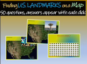 Finding U.S. Landmarks on a map - 50 questions with answer