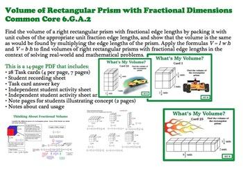 Finding Volume Rectangular Prisms Fractional Dimensions SE