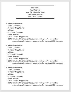 Finding and Applying for Jobs- Personal References Template