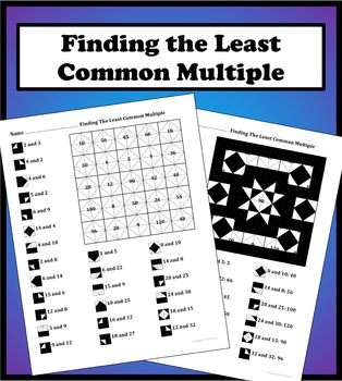 Finding the Least Common Multiple LCM Color Worksheet
